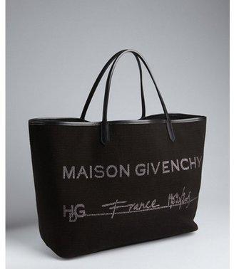Givenchy black canvas 'Maison Givenchy' shopper tote