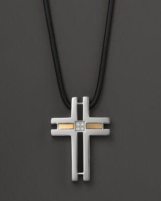Dolan & Bullock Dolan Bullock Stainless Steel and 18K Gold Cross Pendant with Diamond On Cord, 24""