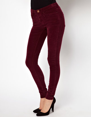 Asos High Waist Ultra Skinny Cord Jeans in Oxblood