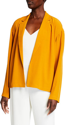Eileen Fisher Petite Notch-Collar Boxy Crepe Jacket