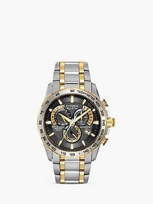 Citizen AT4004-52E Men's Radio Controlled Eco-Drive Chronograph Two Tone Bracelet Strap Watch, Silver/Gold