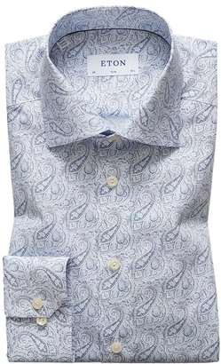 Eton Sky Blue Paisley Poplin Shirt - Slim Fit