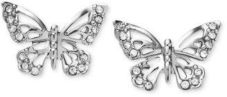Fossil Earrings, Silver-Tone Crystal Butterfly Stud Earrings