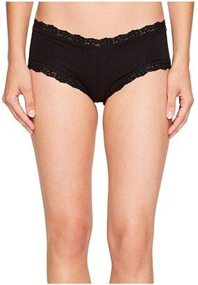 Hanky Panky Organic Cotton Boyshort w/ Lace (Black) Women's Underwear