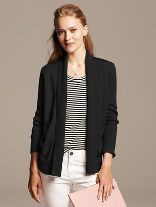 Banana Republic Faux-Leather Trim Open Cardigan
