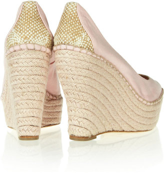 Oscar de la Renta Paloma canvas espadrille wedge pumps