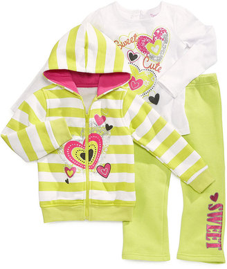 Nannette Kids Set, Little Girls 3-Piece Graphic Hoodie, Shirt and Pants