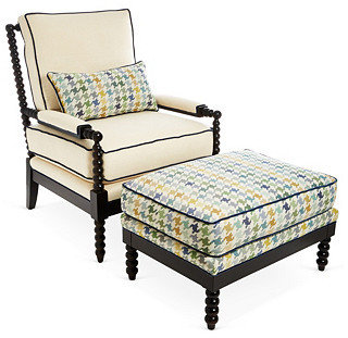 Gregg Chair & Ottoman, Blue Houndstooth