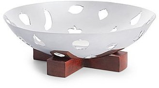 Michael Graves Design Metal Fruit Bowl with Wood Base