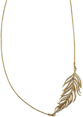 Rachel Roy Necklace, Gold-Tone Glass Crystal Feather Statement Necklace