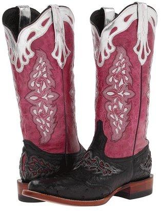 Lucchese M5800.TWF (Black Full Quill Ostrich/Pink Aisha Calf) - Footwear