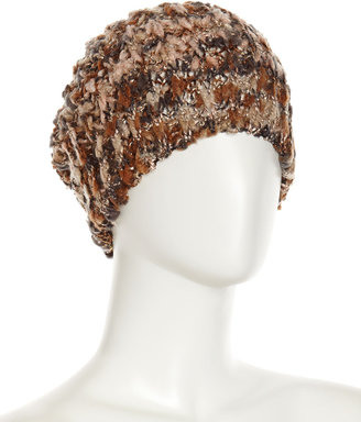 Neiman Marcus Marbled Textured Slouch Hat, Brown/Multi