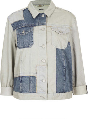 Topshop MOTO Patchwork Denim Jacket