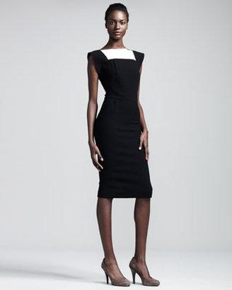 Roland Mouret Watson Colorblock Crepe Dress