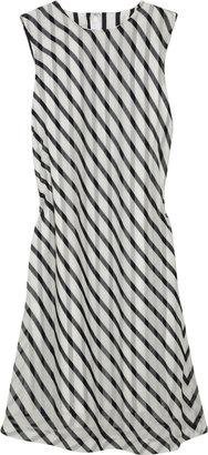 Black Fleece Striped silk-voile dress