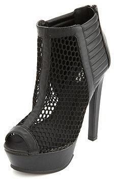 Charlotte Russe Quilted Mesh Peep Toe Platform Heels