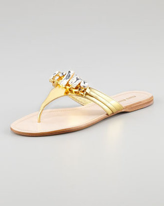 Miu Miu Metallic Jeweled Thong Sandal