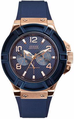 GUESS Men's Blue Silicone Strap Watch 46mm U0247G3