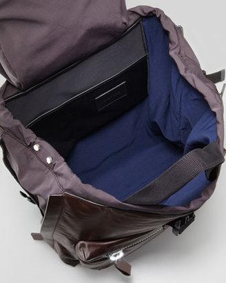 Lanvin Calfskin Zip Backpack, Brown