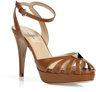 Valentino Cognac Platform Sandals