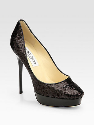 Jimmy Choo Cosmic Sequin & Patent Leather-Trimmed Pumps