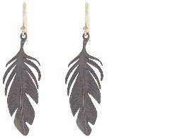 Annette Ferdinandsen Textured Feather Earrings - Oxidized Sterling Silver