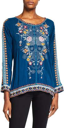 Johnny Was Jolie Embroidered Long Sleeve Blouse