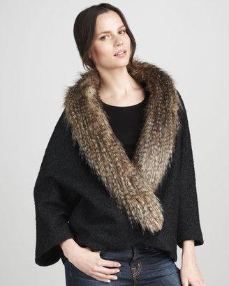 Smythe Almost Famous Faux-Fur-Trim Coat