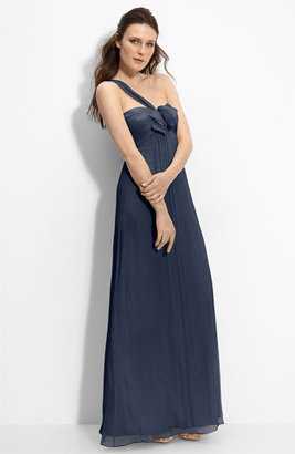 Amsale Bow Front One Shoulder Chiffon Gown