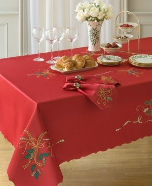 "Lenox Closeout! Holiday Nouveau Cutwork 60"" x 120"" Tablecloth"