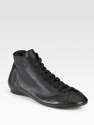 Rochas Leather Lace-Up Sneakers