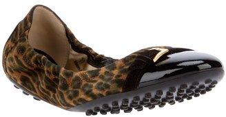 Tod's leopard print suede ballerinas