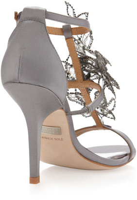 Badgley Mischka Renita Mesh Flower Sandal, Gray