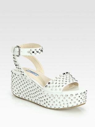 Prada Studded Leather Wedge Sandals