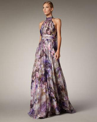 Badgley Mischka Halter-Neck Printed Gown