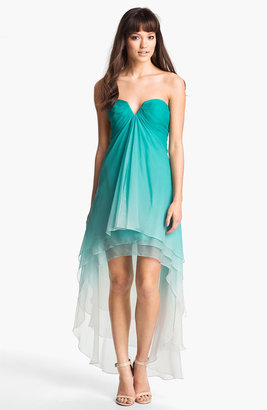 La Femme Ombre Strapless High/Low Chiffon Gown