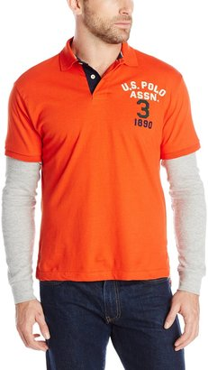 U.S. Polo Assn. Men's Long Sleeve Slim Fit Polo and Thermal Hang Down