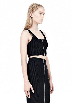 Alexander Wang Cotton Rib Knit Two-Way Zip Cropped Tank