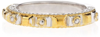 Delatori Square-Cut Gold and Silver Ring