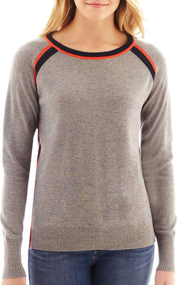 JCPenney jcp Long-Sleeve Tipped Crewneck Sweater $44 thestylecure.com