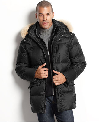 Marc New York Coat, Alpine Down Parka with Fur Trimmed Removable Hood