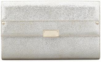 Jimmy Choo Reese Large Glitter Clutch, Silver
