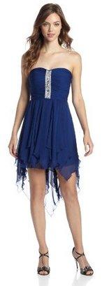 As U Wish Juniors High Low Chiffon Jewel-Trim Dress