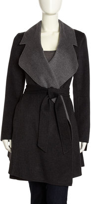 Dawn Levy Notch-Collar Double-Face Coat, Charcoal/Gray
