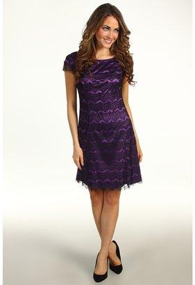 Donna Morgan Virginia Cap Sleeve Fit Flare Dress (Black/Vivid Violet) - Apparel