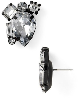 Aqua Crystal Cluster Earrings