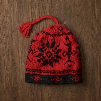 Rugby Red Wool Slub Intarsia Hat