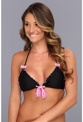 Luli Fama Besos y Lasos Crystal Bows and Tassel Triangle Top (Black/Pink) - Apparel