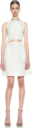 Thakoon Cut Out Midriff Acrylic-Blend Dress in Ivory & Peach