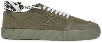 Off-White Low Vulcanized Olive Suede Sneakers